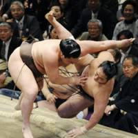 Big toss: Yokozuna Hakuho beats sekiwake Aminishiki with an upper-arm throw on the seventh day of the New Year Grand Sumo Tournament at Ryogoku Kokugikan on Saturday. | KYODO PHOTO