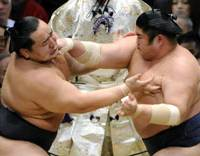Out of reach: Asashoryu (left) fails to fend off Kotomitsuki on the way to his second loss at the Spring Grand Sumo Tournament on Thursday. | KYODO PHOTO