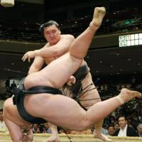 Master at work: Hakuho takes down Tokusegawa at the Autumn Grand Sumo Tournament on Monday. | KYODO PHOTO