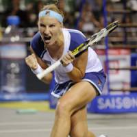 Euphoric moment: Russia's Svetlana Kuznetsova celebrates her quarterfinal victory over Jelena Jankovic in the Toray Pan Pacific Open quarterfinals on Friday at Ariake Colosseum. | KYODO PHOTO