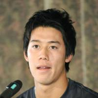 Disappointing announcement: Kei Nishikori tells reporters on Monday he has a stress fracture in his right elbow. The injury is forcing him to miss the French Open and Wimbledon. | KYODO PHOTO