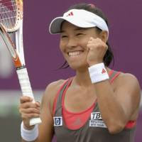 Reason to smile: Kimiko Date Crumm celebrates her 3-6, 6-2, 6-4 victory over Russia's Maria Kirilenko in the Korea Open semifinals on Saturday in Seoul. | KYODO PHOTO