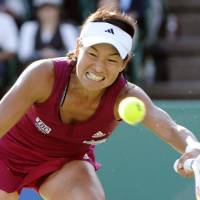 Second best: Kimiko Date Krumm fails to win her ninth career title on Sunday, falling to Thailand's Tamarine Tanasugarn in the Japan Women's Open final. | KYODO PHOTO