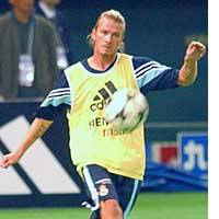 David Beckham of Real Madrid kicks a ball during practice at Tokyo Dome. Real Madrid will play an exhibition match against J. League club FC Tokyo at National Stadium on Tuesday.
