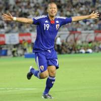 Big night: Japan's Takayuki Morimoto celebrates after scoring his second goal against Guatemala in the 20th minute on Tuesday at Nagai Stadium in Osaka. Japan defeated Guatemala 2-1. | KYODO PHOTO
