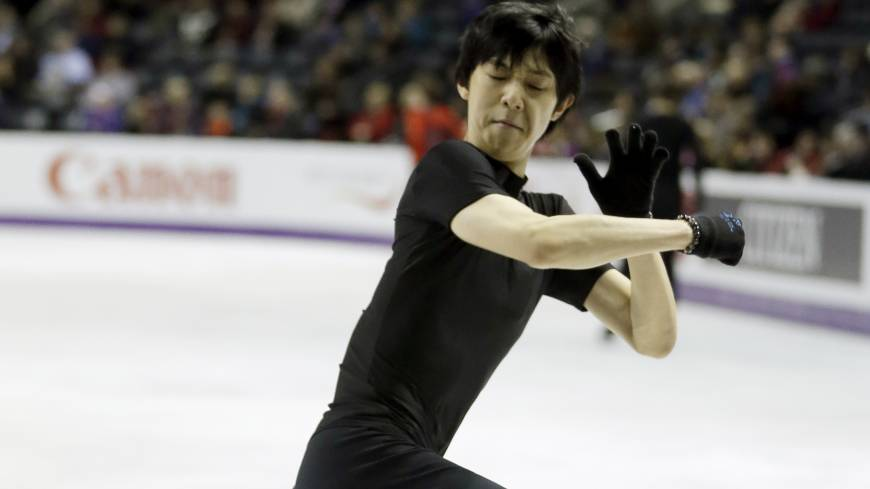 Getting ready: Yuzuru Hanyu performs during a practice session for the ISU World Figure Skating Championships on Monday in London, Ontario.