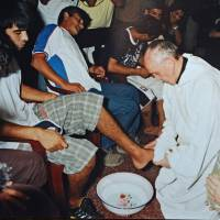 Humility: Jorge Bergoglio, then the archbishop of Buenos Aires, washes the feet of drug addicts during a ceremony for the opening of the rehabilitation center Christ's Home in a shantytown of Buenos Aires on March 20, 2008. | AFP-JIJI
