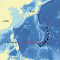 Deep impact: This map shows the location of the Challenger Deep in the Mariana Trench. | WIKIPEDIA