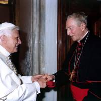 The Loyola opposition: Pope Benedict XVI greets Jesuit Cardinal Carlo Maria Martini at the Vatican in May 2005. Jesuits had been sidelined by recent popes, but the election of Pope Francis has given the order renewed hope. | AP