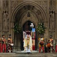 Setting the stage: New Archbishop of Canterbury Justin  Welby reads the gospel in Canterbury Cathedral on  Thursday. | AFP-JIJI