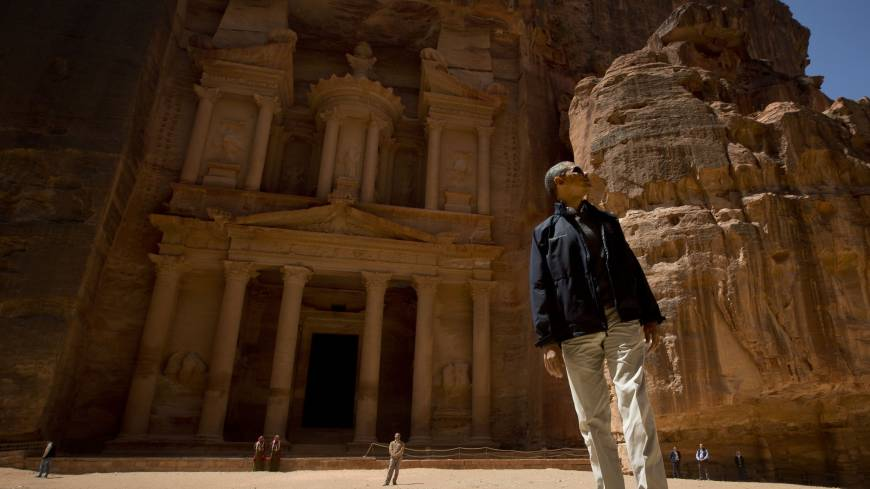 Step back in time: U.S. President Barack Obama tours the ancient city of Petra in Jordan on Saturday.