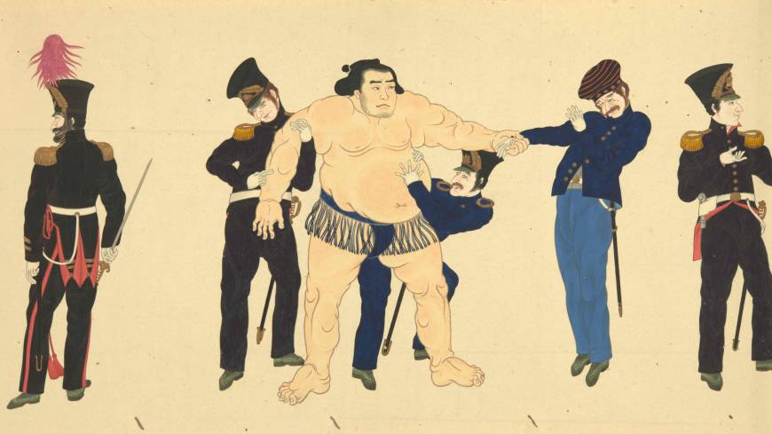 Stong hand shake: A detail from the silk scroll 'The Mission of Commodore Perry to Japan' (1854) shows members of Perry's party meeting a Sumo wrestler for the first time. Calligrapher Onuma Chinzan, Painting attributed to Hibata Oosuke. | © THE TRUSTEES OF THE BRITISH MUSEUM
