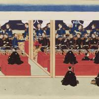 Facing off: A detail from 'The Mission of Commodore Perry to Japan' (1854), which was acquired by the British Museum last year .   © THE TRUSTEES OF THE BRITISH MUSEUM