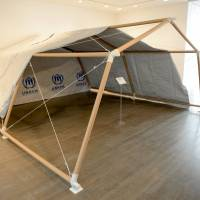 Full-size mockup of a paper emergency shelter for UNHCR, developed for Congo refugees in Rwanda in 1999. | JULIAN WORRALL