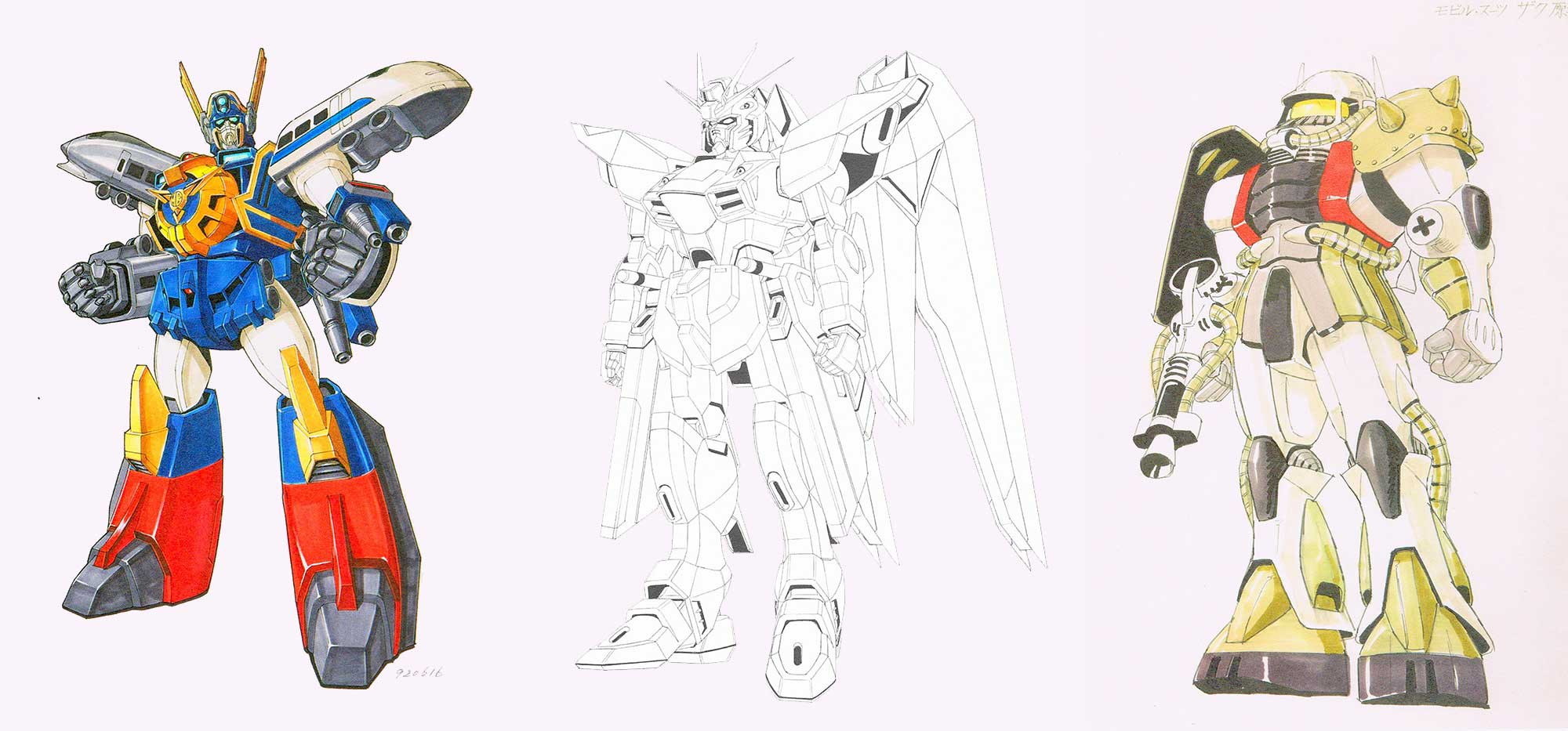 (from left) 'Preliminary model sheet: Mightgaine, front view' (1992), 'Final model sheet: Freedom Gundam, front view' (c.2003), 'First model sheet: Zaku' (1978) | © SUNRISE INC.; © SOTSU AGENCY, SUNRISE INC