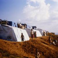 Paper trail: Troubled that architecture tends to serve the richest members of society, Ban put his trademark material of cardboard tubes to use in designing tent frames for UNHCR refugee camps in Rwanda in the mid-1990s.   SHIGERU BAN ARCHITECTS