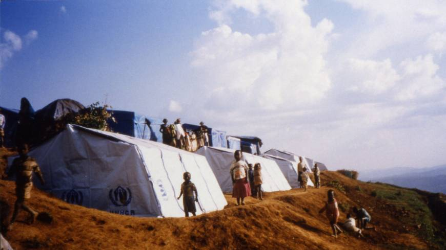 Paper trail: Troubled that architecture tends to serve the richest members of society, Ban put his trademark material of cardboard tubes to use in designing tent frames for UNHCR refugee camps in Rwanda in the mid-1990s.