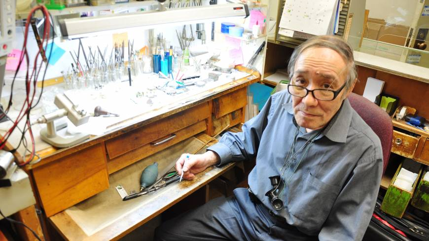 Time keeper: Born in Hokkaido in 1944, Iwao Tsumura learned watchmaking in Switzerland and has been repairing timepieces in Montreal for 40 years.