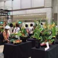 Pretty petals: Attendees examine flower arrangements at the Flower Dream showcase last year in Tokyo. The event also hosts the Japan Cup Flower Design Competition.