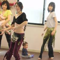 The author during a recent class. | ACCORDING TO SAHILA, 'THERE HAVE LONG BEEN BELLY-DANCING CEREMONIES FOR CHILDBIRTH IN THE ARAB WORLD.' DANIELLE DEMETRIOU