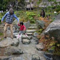 A hop, a skip and a jump. The paths around the pond at Hinokicho Park. | JASON JENKINS