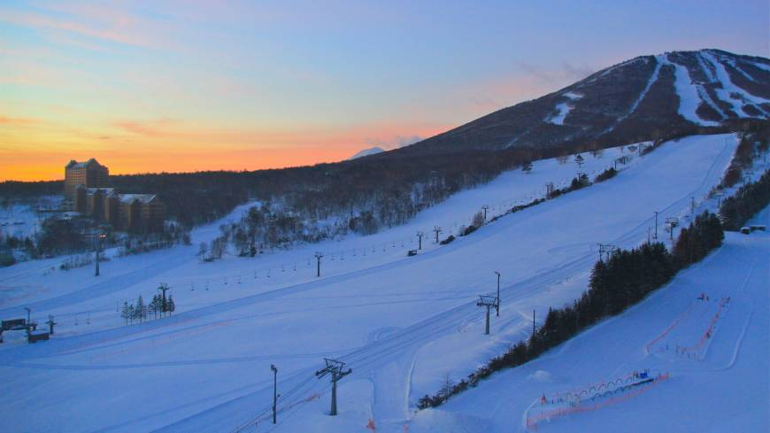 Sunrise after a blizzard reveals deep powder on the so-called Sailer side of Mount Appi.