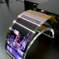 The better to see you: Sharp Corp. displays a flexible organic electroluminescence panel. | KYODO