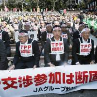 Taking to the streets: Members of agricultural lobbies from across the nation congregate in Tokyo last month to rally against Japan's proposed participation in the Trans-Pacific Partnership trade liberalization negotiations. | KYODO