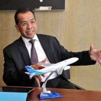 Expansive: Garuda Indonesia President and CEO Emirsyah Satar explains the airline's expansion plans and new service to Kansai International Airport in an interview Friday in Tokyo. | YOSHIAKI MIURA