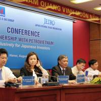 Executives at Petrovietnam solicit questions from Japanese investors at its headquarters in Hanoi in August. | KYODO