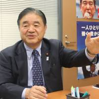 Shifting focus: Lower House lawmaker Toshiaki Endo of the Liberal Democratic Party is interviewed by The Japan Times in his office in Tokyo on Wednesday. | MASAAKI KAMEDA