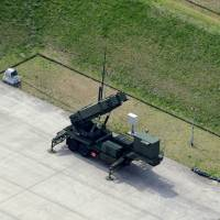 On guard: PAC-3 missile interceptors are deployed Tuesday at the Ground Self-Defense Force's Camp Narashino in Chiba Prefecture. | KYODO