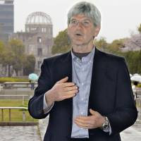 No more nukes: Steven Leeper, former head of the Hiroshima Peace Culture Foundation, is seen at the Hiroshima Peace Memorial Park earlier this month.   KYODO