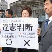 Scales of justice: A lawyer holds up a sign that says 'judged unconstitutional' after the Okayama branch of the Hiroshima High Court ruled on a vote-disparity case March 26 in Okayama. A paper pasted at the top left says 'invalid.' | KYODO