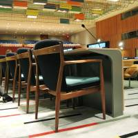 Japanese touch: The newly renovated Trusteeship Council at U.N. headquarters is using 260 armchairs made by Asahi Sofu Manufacturing Co. in Yamagata Prefecture. | KYODO