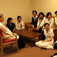 Caring, sharing: Female doctors gather in a new salon set up at Fujita Health University Hospital in Toyoake, Aichi Prefecture, to encourage those with children to continue their career. | CHUNICHI SHIMBUN