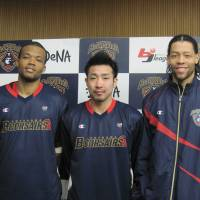Talented trio: Draelon Burns (left), Masayuki Kabaya (center) and Thomas Kennedy have provided the Yokohama B-Corsairs with potent scoring output this season. | ED ODEVEN