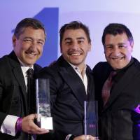 Recipe for success: Head chef Joan Roca (left), accompanied by his brothers Jordi (center) and Josep, hold their trophies at an awards ceremony in London on Monday. Over 900 international experts chose their Girona restaurant, El Celler de Can Roca, as the winner in the  World's 50 Best Restaurants contest. | AP
