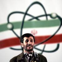 Next nuclear challenger: Iranian President Mahmoud Ahmadinejad speaks during a ceremony at the Natanz nuclear enrichment facility in April 2007. | AP