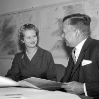 Margaret Thatcher, joint parliamentary secretary at the Ministry of Pensions and National Insurance, talks with Minister John Boyd Carpenter in London in October 1961. | AP