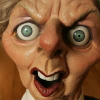 Satirized: A satirical puppet of former British Prime Minister Margaret Thatcher that was auctioned at Christie's in London is seen in November 2007. | AP
