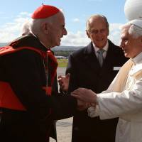 Disgraced: Cardinal Keith O'Brien (left) greets Pope Benedict XVI as he arrives in Edinburgh to begin the first papal state visit to the United Kingdom on Sept. 16, 2010. | O'BRIEN'S RESIGNATION WAS ACCEPTED IN FEBRUARY FOLLOWING ALLEGATIONS OF INAPPROPRIATE SEXUAL CONDUCT, AND ON MARCH 3 HE ADMITTED THAT HIS CONDUCT HAD AT TIMES 'FALLEN BENEATH THE STANDARDS EXPECTED OF ME.' AP