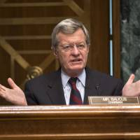 Free of constraints: Senate Finance Committee Chairman Sen. Max Baucus speaks in  Washington on April 17. | AP