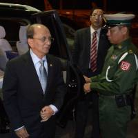 International departure: Myanmar President Thein Sein arrives at Yangon International Airport late Friday before leaving for a visit to the U.S. | AFP-JIJI