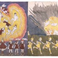 Girl power: On the left, 'Sally Fielders, Daisy, Hettie, Violet, Angelina Aronburg, Joice, Jennie, Angeline, Catherine, Marjorie Masters.' Right: 'At second battle of Marcocino also escape from disastrous explosion during battle caused by Glandelinians.'