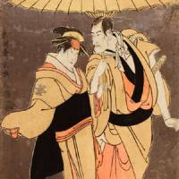 Kabuki art: 'The Actor Ichikawa Komazo as Kameya Chubei, and Nakayama Tomisaburo as the Courtesan Umegawa of Shinmachi' by Toshusai Sharaku. | THE BRITISH MUSEUM © THE TRUSTEES OF THE BRITISH MUSEUM