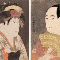 Male beauties: 'The Actor Segawa Kikunojo as Oshizu, Wife of Tanabe Bunzo' (left) and 'The Actor Sawamura Sojuro as Ogishi Kurando,' both by Toshusai Sharaku. | PRIVATE COLLECTION (PHOTO BY STEVEN TUCKER); HONOLULU ACADEMY OF ARTS, GIFT OF JAMES A.MICHENER,1989 (20655)