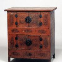 A treasure of a chest: With the use of lacquer restricted to items for the upper classes, this early 20th-century chest, created for humbler homes, was instead embellished with embossed mulberry-bark paper and varnished with perilla oil to give it a glossy finish.   COURTESY OF THE KORYO MUSEUM OF ART