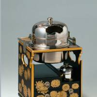 Rosewood portable tobacco tray, decorated with chrysanthemum motifs.