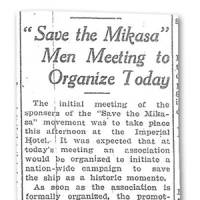 A story published on March 24, 1924 announces a 'Save the Mikasa' meeting.